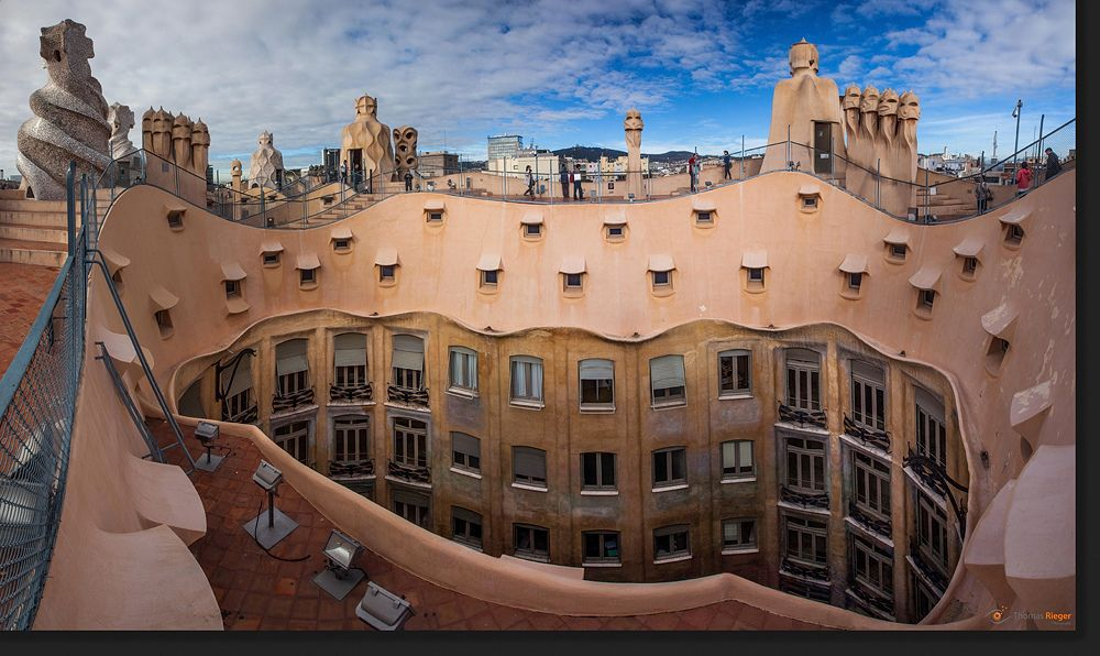 On the Roof of Casa Mila - Barcelona, by Thomas Rieger.