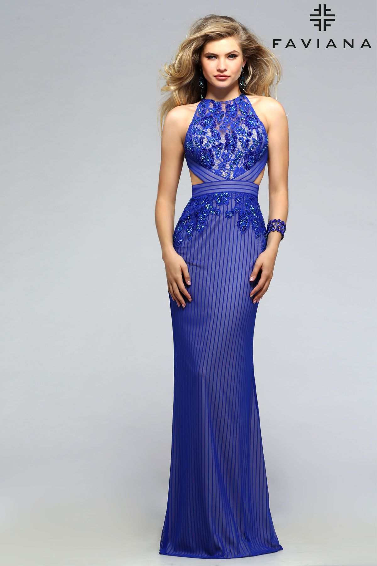 Lace pattern high neck with side cutouts #Faviana Style s7809 ...