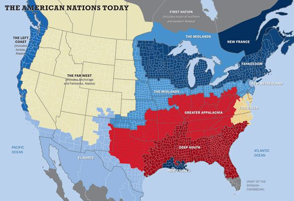 Which of the 11 American nations do you live in? Regional, History - new world map political