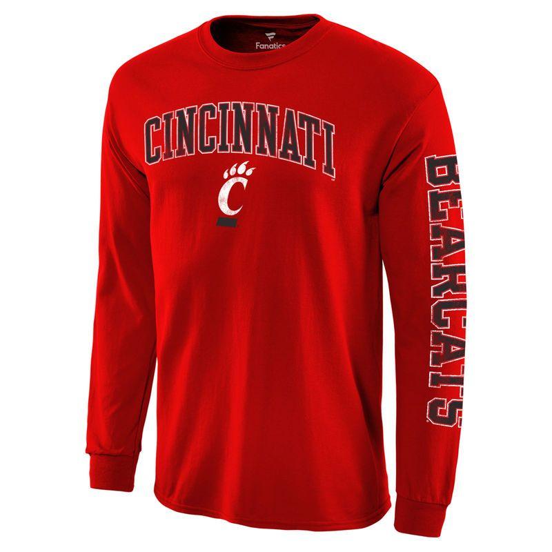 best loved 2ab21 f5aae Men s Fanatics Branded Red Cincinnati Bearcats Distressed Arch Over Logo  Long Sleeve Hit T-Shirt