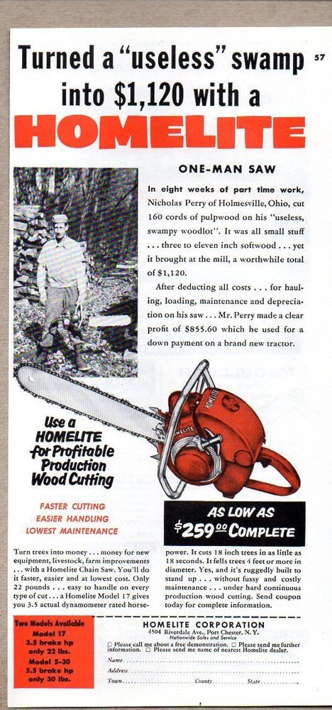 1955 vintage ad homelite one man chain saw swamp turned into 1120 1955 vintage ad homelite one man chain saw swamp turned into 1120 greentooth Gallery