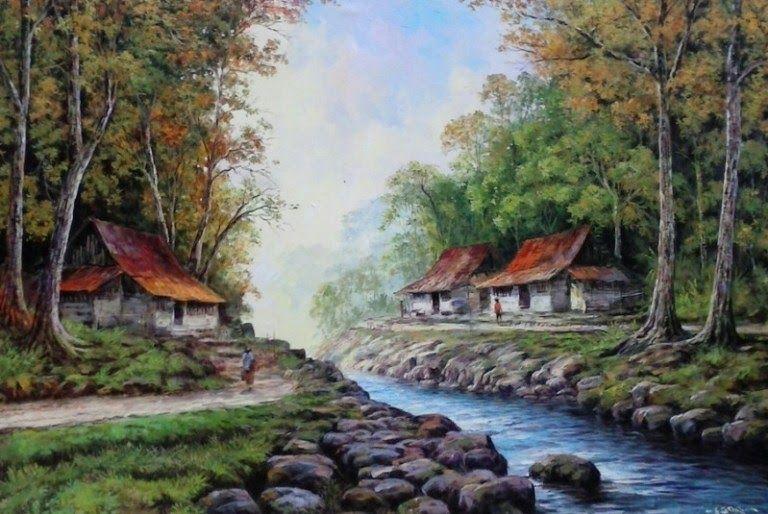 32 Lukisan Pemandangan Gunung Dan Air Terjun Kombinasi Antara Awan Yang Bergradasi Biru Ke Putih Serta Ditambah Gunung Tinggi Di 2020 Painting Lukisan Minyak Lukisan