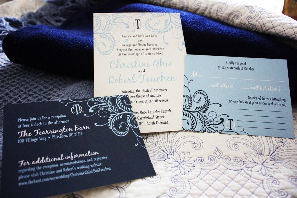 carolina blue and navy monogrammed swirl wedding invitations, Wedding invitations