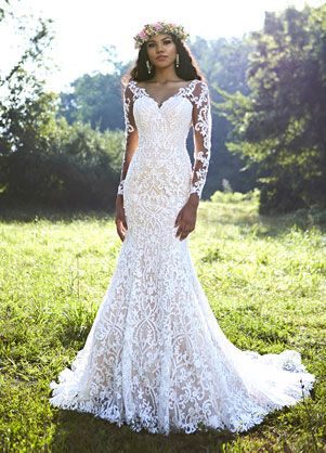 Style 10457 Ashley Justin Bride Long Sleeve Lace Fit N Flare