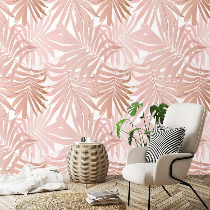 Removable Wallpaper Palm Leaves Peel And Stick Wallpaper Blush Pink Self Adhesive Traditional Wallpaper Custom Tropical Wallpaper Non Woven In 2021 Peel And Stick Wallpaper Tropical Wallpaper Removable Wallpaper