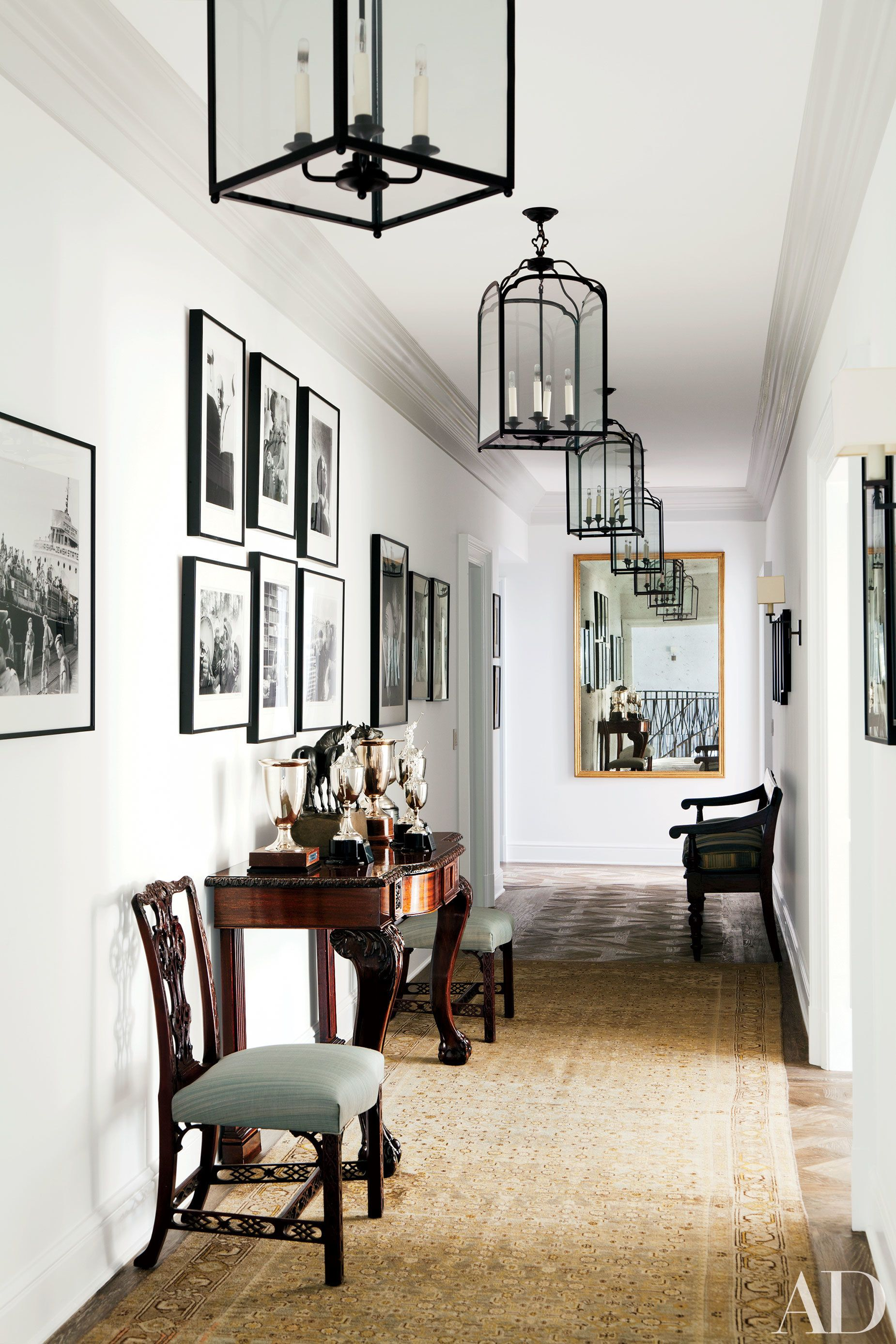 English Antiques And Polo Trophies Are Displayed In The Hall Of A Beverly  Hills Residence By