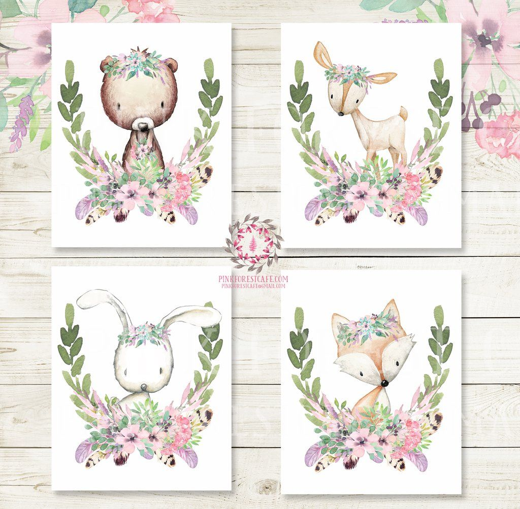 Elephant Twin Nursery Wall Art Nursery Room Decor For Twins: Bunny Bear Deer Fox Woodland Boho Wall Art Prints Purple