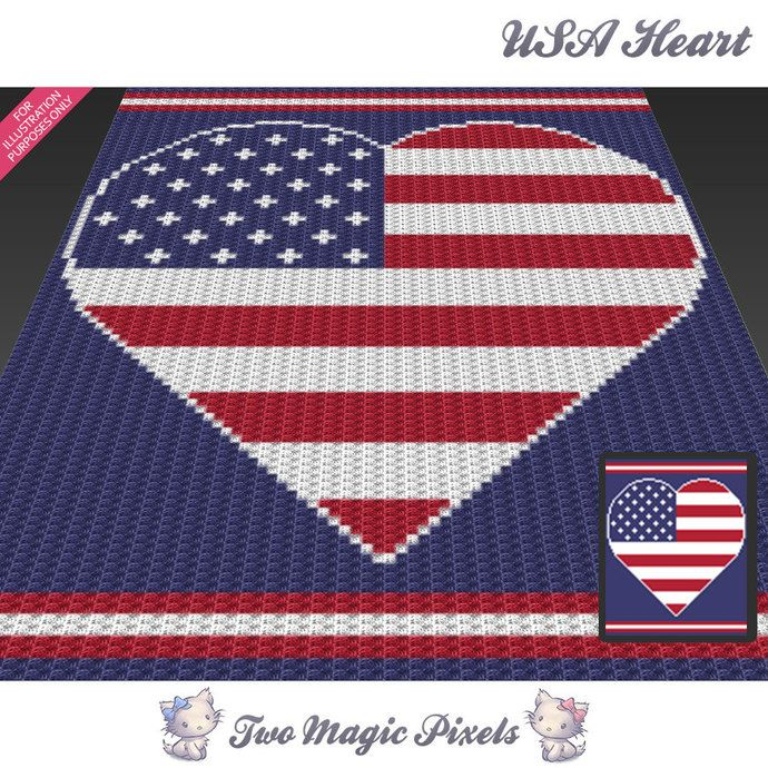 Usa heart c2c graph crochet pattern instant pdf download baby usa heart c2c graph crochet pattern instant pdf download baby blanket corner to corner afghan graphghan dt1010fo
