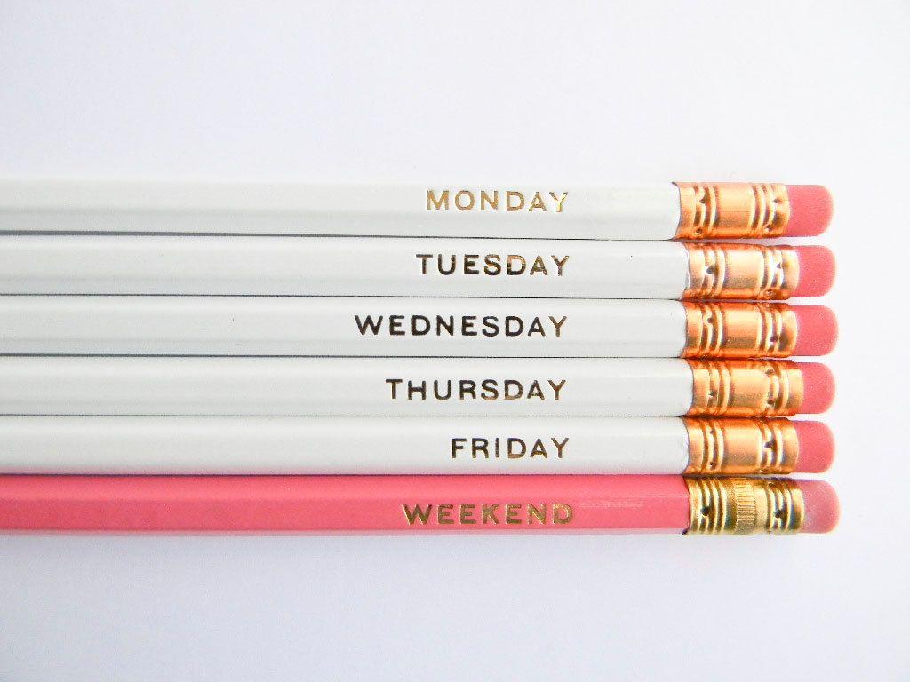 Hello Weekend Pencils   White, Pink U0026 Gold, Set Of 6, Stocking Stuffers