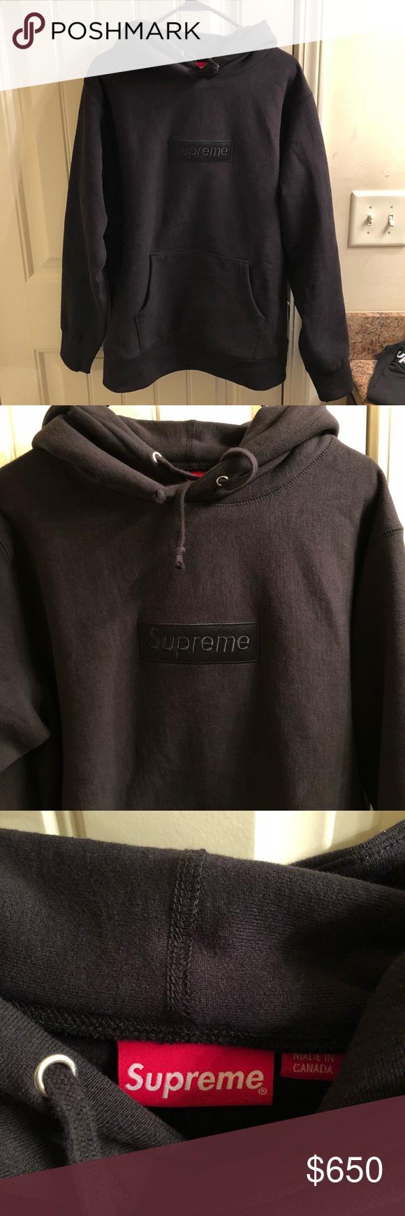 3ce1d061f8d7 Supreme Tonal Black Box Logo Hoodie - Size XL Size XL but will fit a L.  Worn 1x. From F W 14 collection