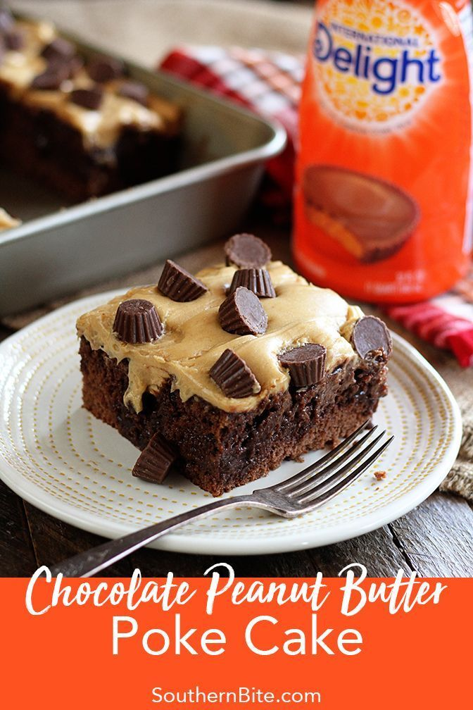Chocolate Peanut Butter Poke Cake #chocolatepeanutbutterpokecake
