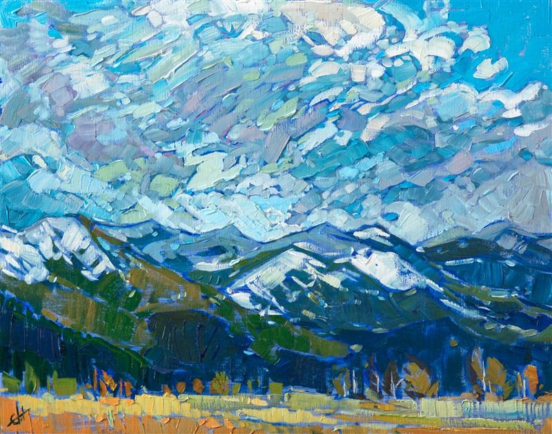 Montana Landscape Oil Painting On A Petite Canvas By Modern Impressionist Erin Hanson Oil Painting Landscape Landscape Artwork Fine Art Prints Artists