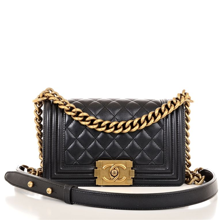 784832cb1173 Chanel Small Boy Lambskin Bag in Pearly Black with Gold Hardware Image 2