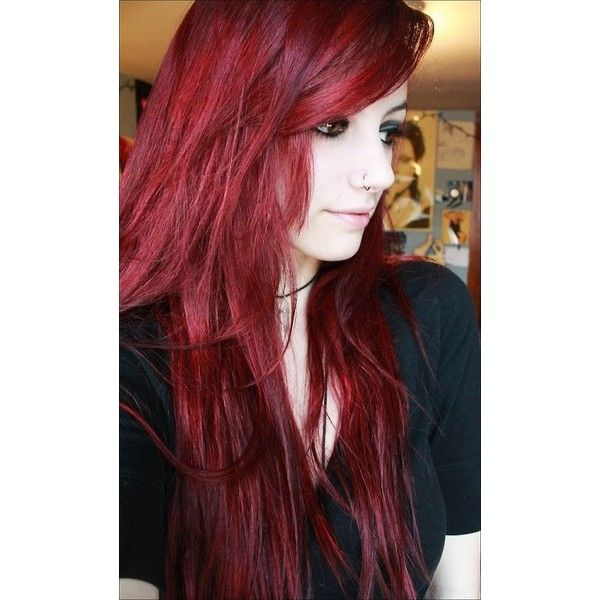 Dark Red And Black Hair Tumblr Liked On Polyvore Featuring