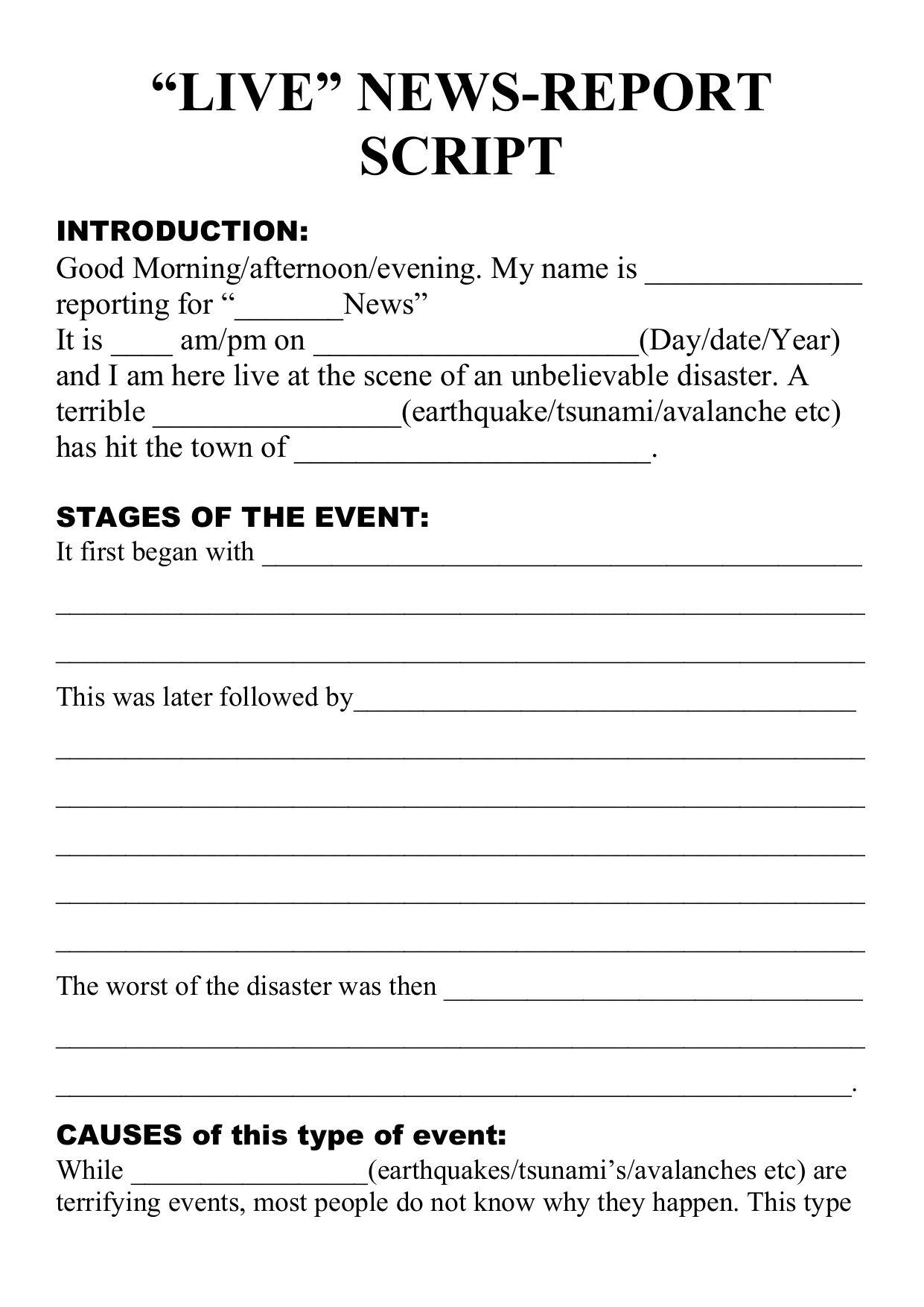 The Cool Natural Disaster Live Newsreport Script Template Regarding News Report Template Digital Photograph Book Report Templates Report Template Book Report [ 1754 x 1241 Pixel ]