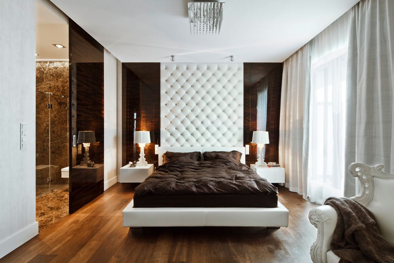 love the contrast- modern apartment design white brown bedroom ...