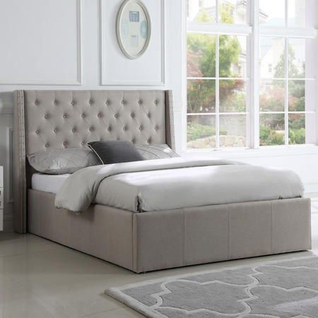 Buy Safina King Size Ottoman Bed With Stud Detailing In Beige
