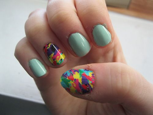Thumb and ring finger are Sally Hansen's nail strips