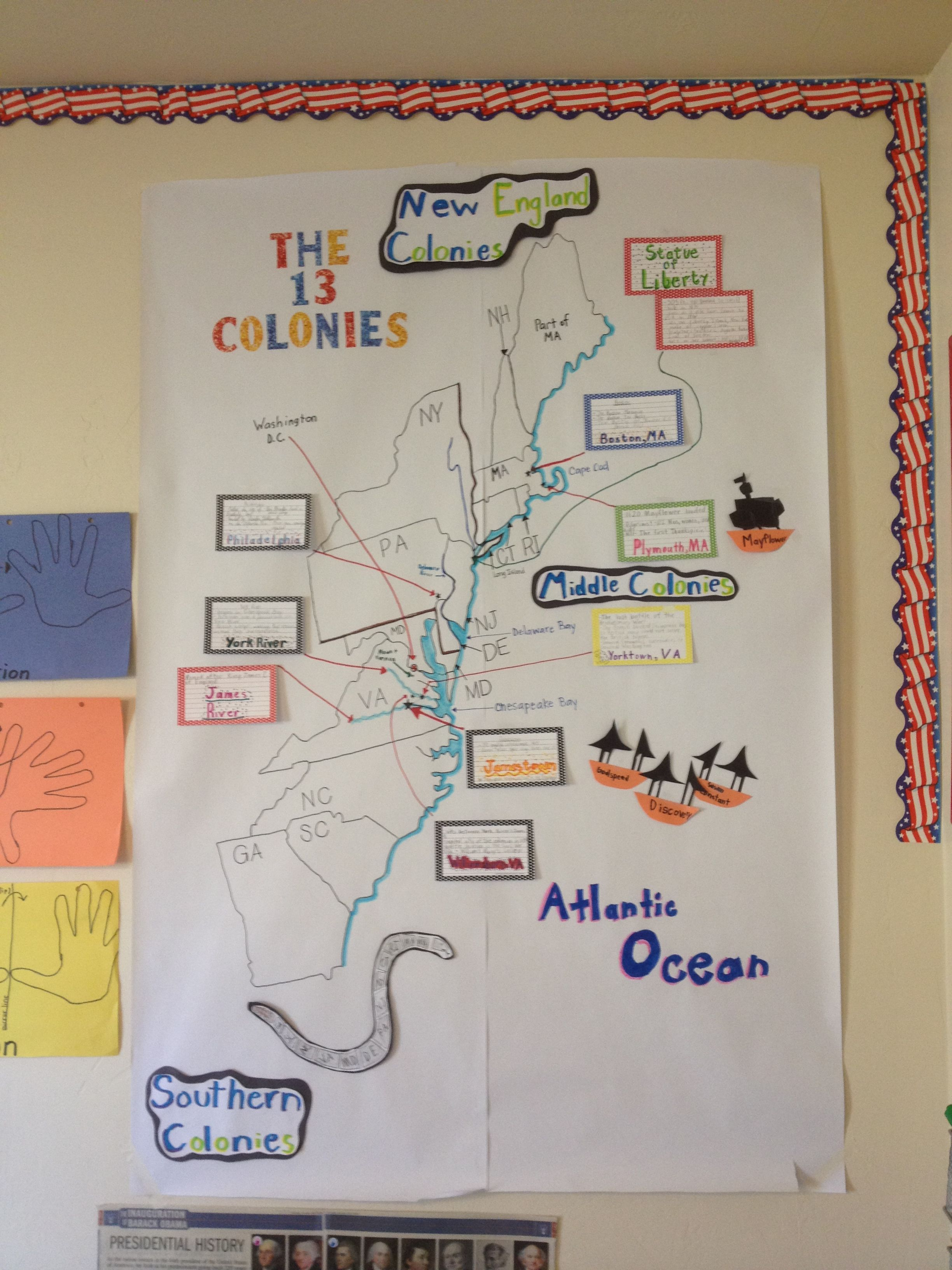 Hands On 13 Colonies Map