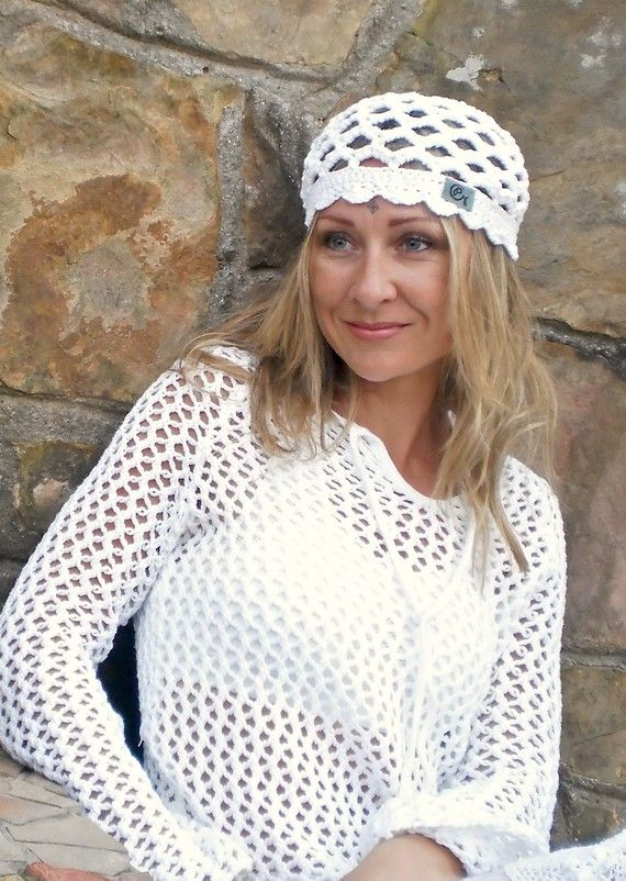 WHITE cotton BEANIE hat for Kundalini sadhana Kufi hat Crochet ...