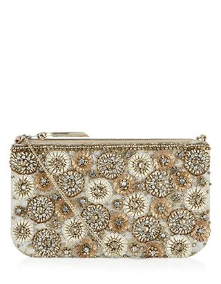 ef72c1122747 Pearl And Sequin Flower Zip Top Clutch Bag | Gold | Accessorize ...