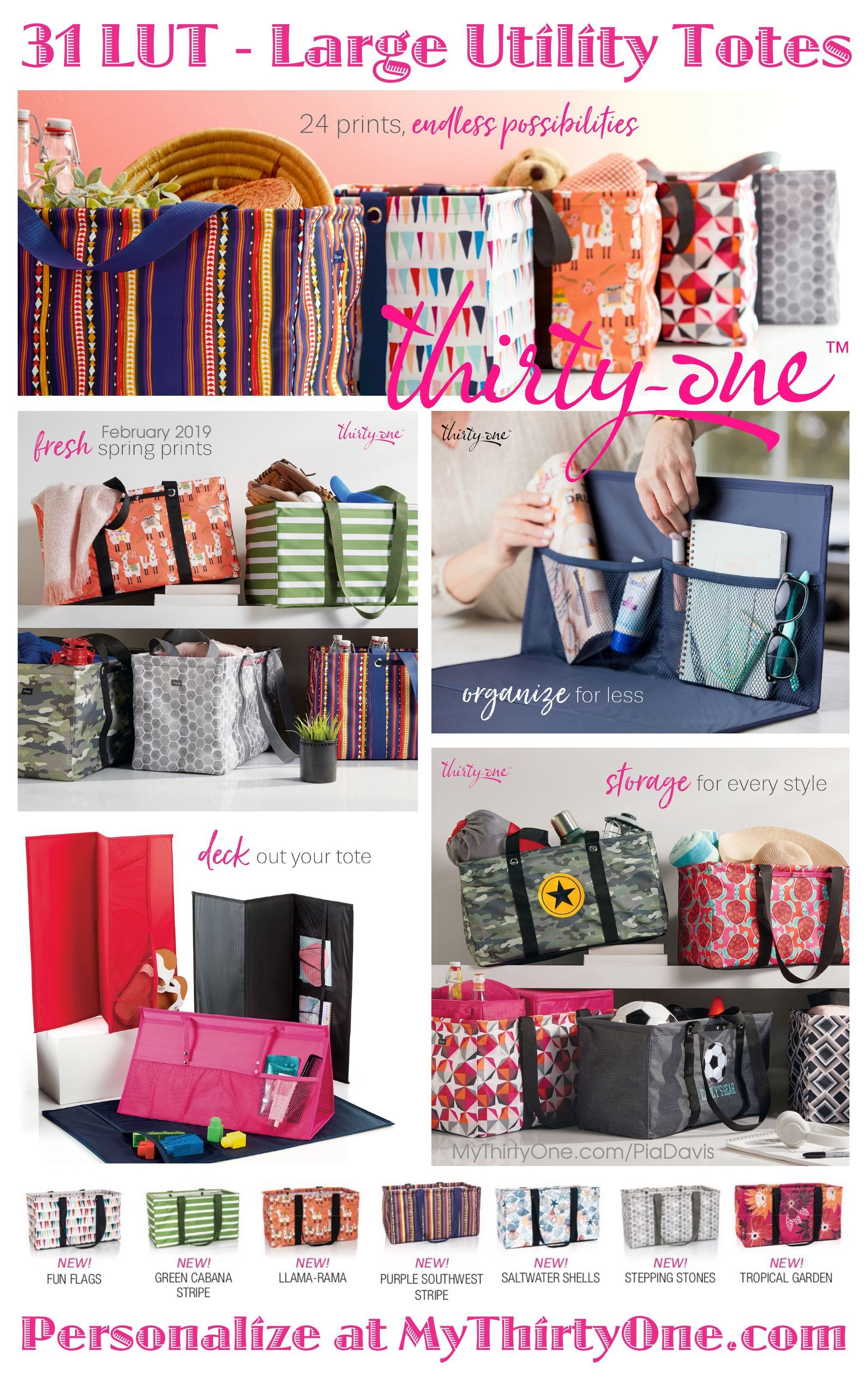 fc8cabdbbb ... Thirty-One Bags.  31 February 2019 - LUT SALE - Large Utility Totes  only  10 with each  35 purchase. Stand Tall Inserts only  18 with each  35  purchase.