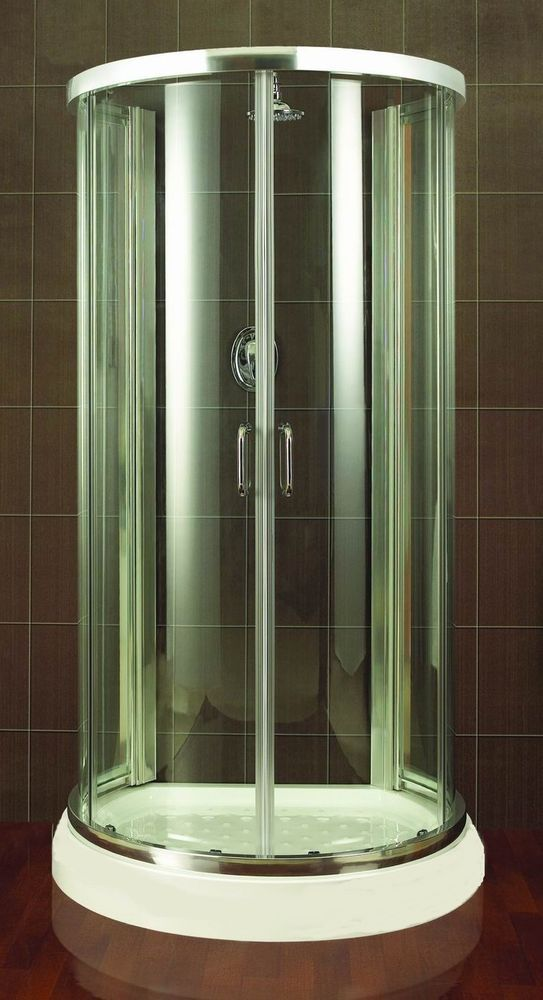 Shower Enclosure D Shape Door Glass Cubicle Walk In Chrome Wall ...