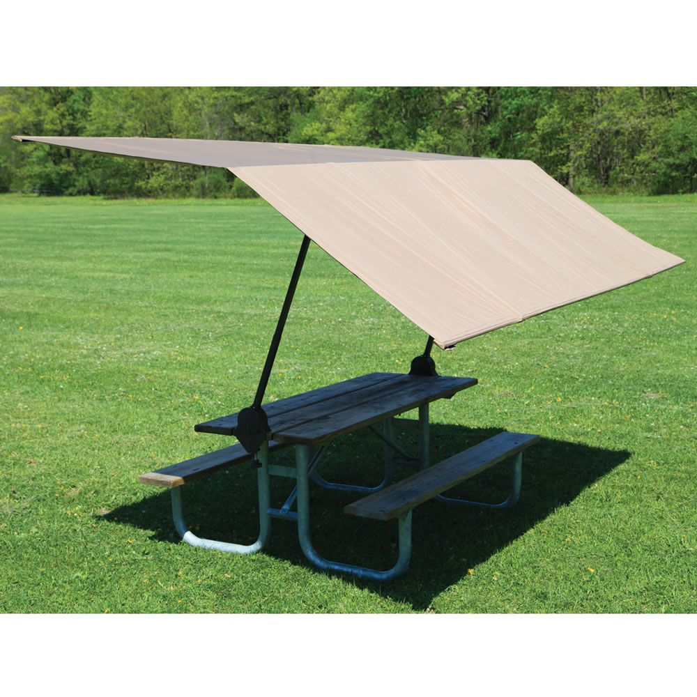 The Clamp On Picnic Table Canopy Hammacher Schlemmer Picnic Table Folding Picnic Table Portable Canopy