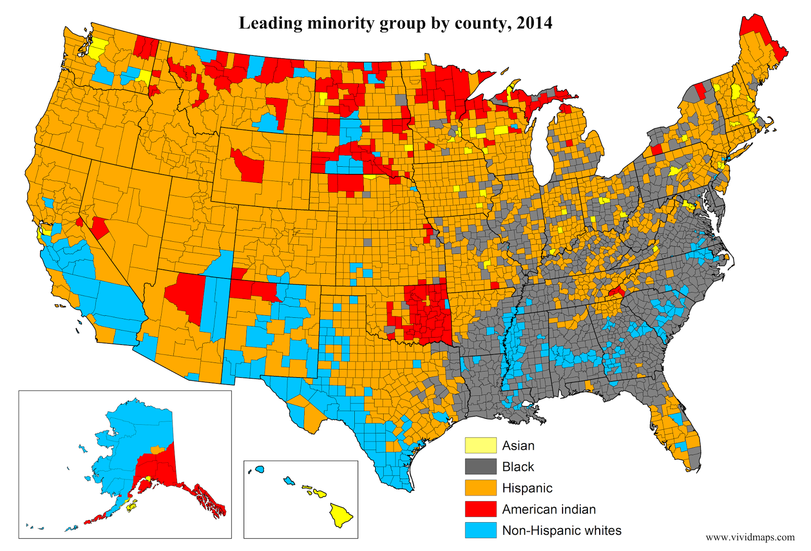 Leading Minority Group By County United States 2014 Canada The - Map-of-minorities-in-us