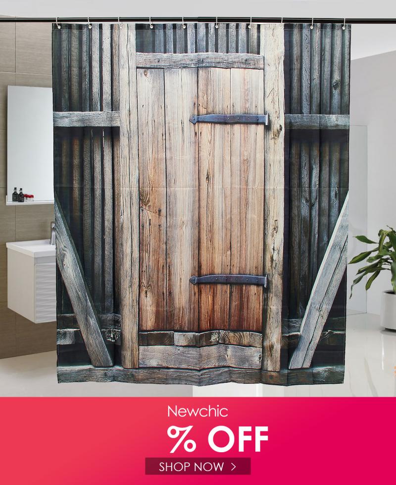 Wooden Door Theme Waterproof Polyester Fabric Bathroom Shower