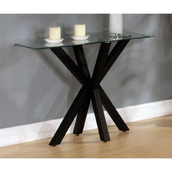 Langley High Gloss Black Finish Clear Glass Top Console Table
