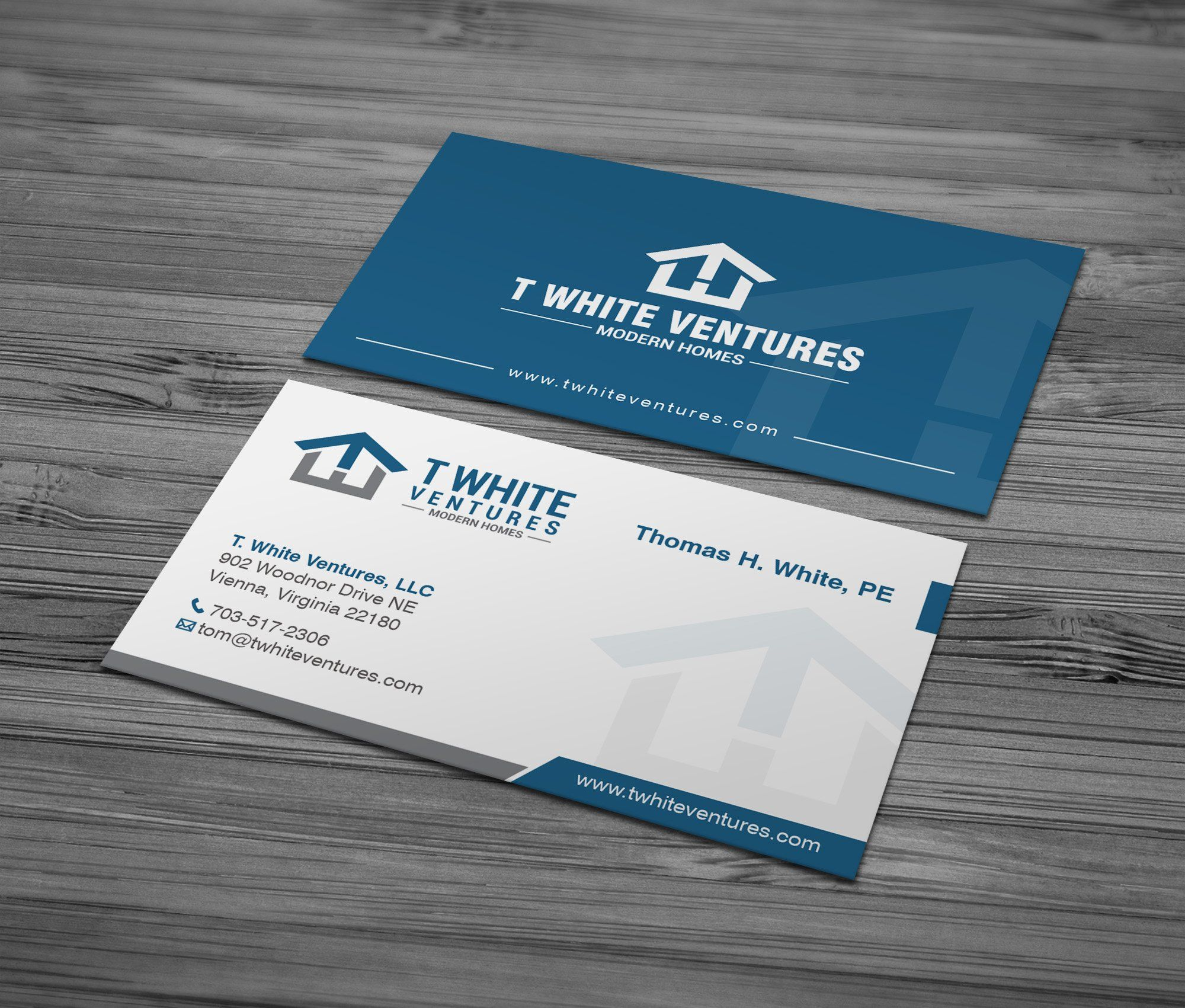 A Blue Business Card Design For A Real Estate Company Business Card Design Blue Business Card Design Blue Business Card