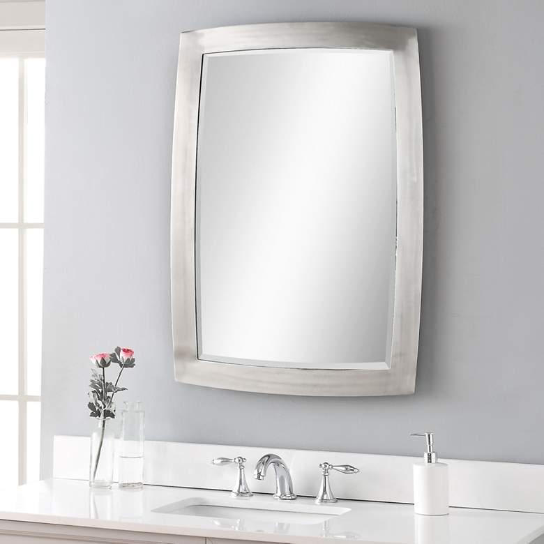 "Haskill Brushed Nickel 24"" x 34 1/4"" Vanity Wall Mirror"