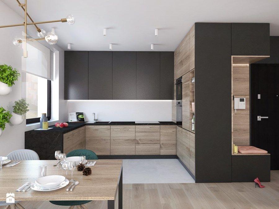 Aranzacje Wnetrz Kuchnia Projekt 23 X2f Otwock Kuchnia Styl Nowoczesny Pass Archi Kitchen Room Design Modern Kitchen Design Modern Kitchen Interiors