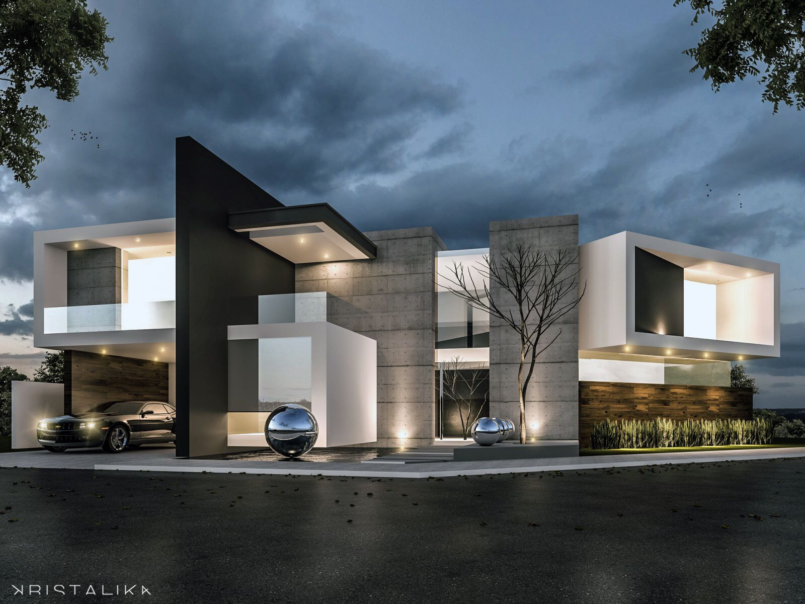 M m house architecture modern facade contemporary Modern house columns
