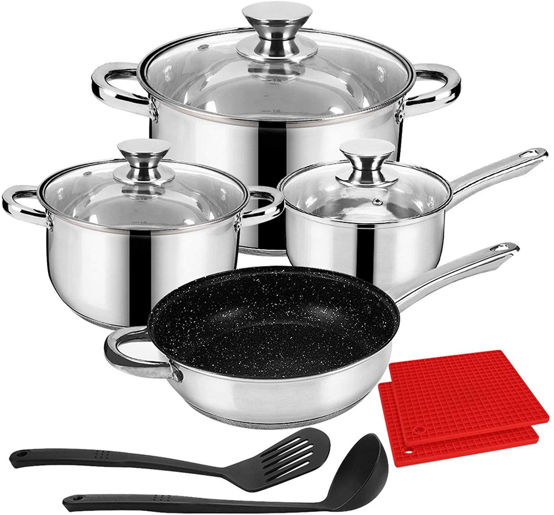 Velaze Cookware Set Stainless Steel 10 Piece Cooking Pot Set Induction Safe Non Stick Frying Pan S Cookware Set Stainless Steel Cookware Set Pots And Pans Sets