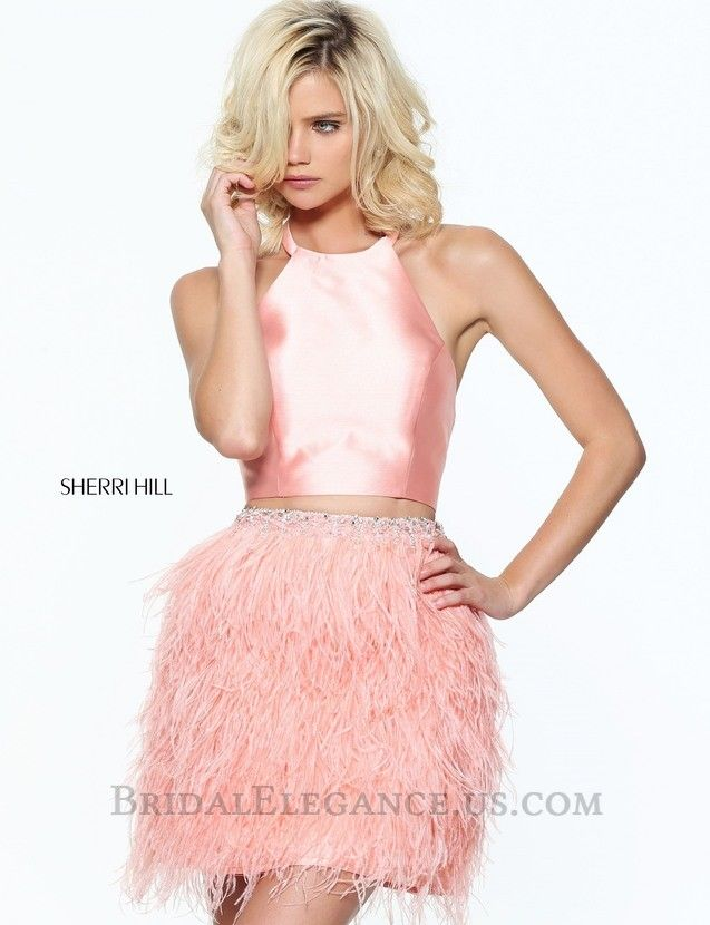 Sherri Hill 51043 is a choker neckline with halter sleeve dress ...
