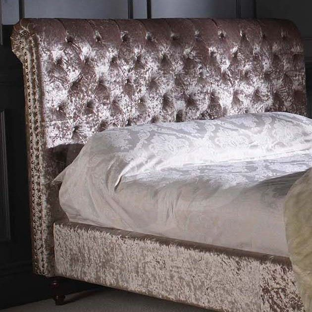 Go1142m 5 King Size Mink Crushed Velvet Upholstered Chesterfield