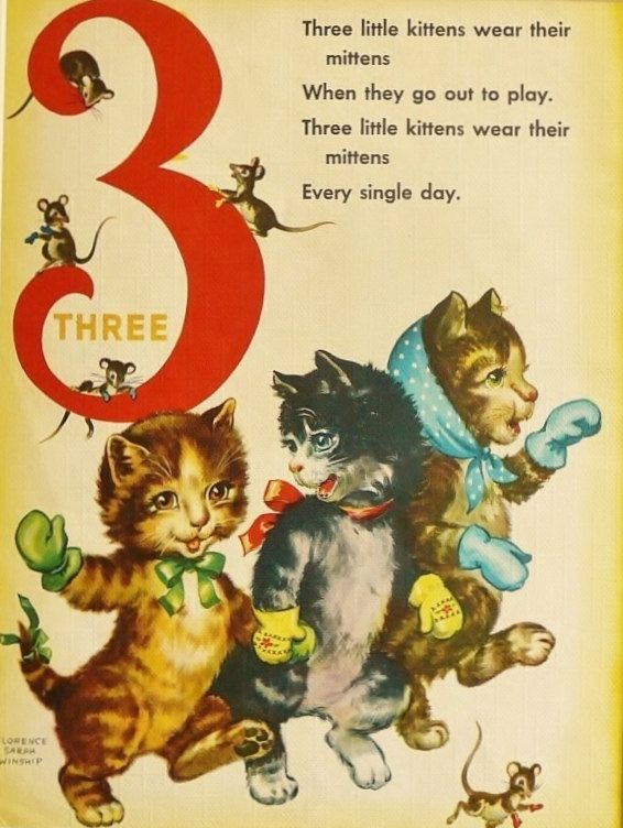 Vintage Thee Little Kittens Print Baby Nursery Decor Number 3 11 X 14 Storybook Page W Mat 15 00 Vi Old Nursery Rhymes Counting Rhymes Childrens Poetry