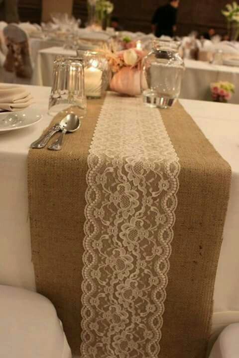 If You Can Find The Lace I Have Runners Burlap Table Runner Along With Rose Gold And Blush Details For Center Pieces