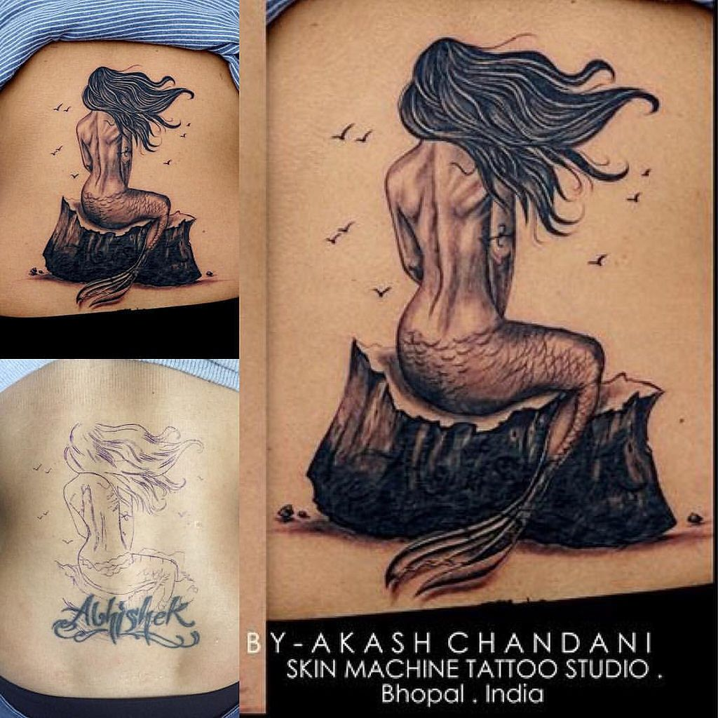 Ibrahim name tattoo designs - Mermaid Tattoo By Akash Chandani Its A Cover Up A Name Tattoo Almost
