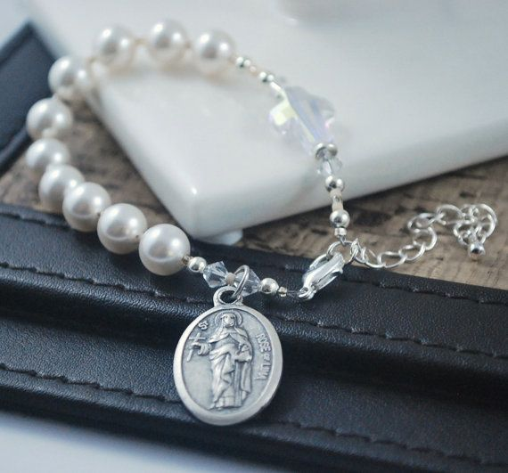Pearl Rosary bracelet with St Rose of Lima medal by KatieBourchier