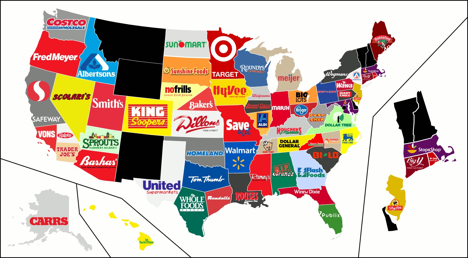 United States Supermarket Map States Where The Store Was Founded Or Have A Headquarters Claim