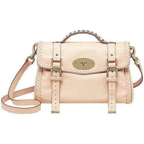b7d9dc10bf Buy Mulberry Alexa with Woven Trim Leather Messenger & Shoulder Handbag,  Creamy Pink Online at johnlewis.com