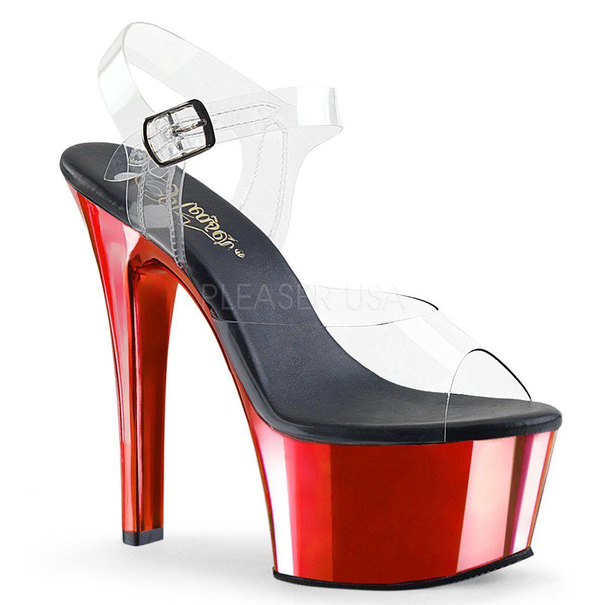 ASPIRE-608T 6/'/' Heel 2 1//4/'/' Tinted Platform Ankle Strap Sandal by PleaserUSA