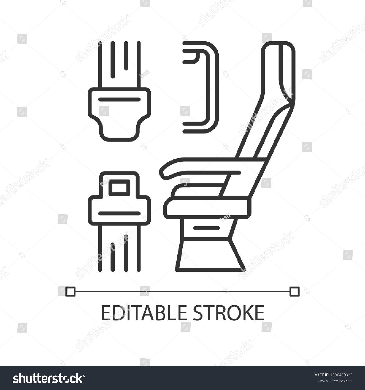 Seat belt linear icon. Airplane safe seating. Plane