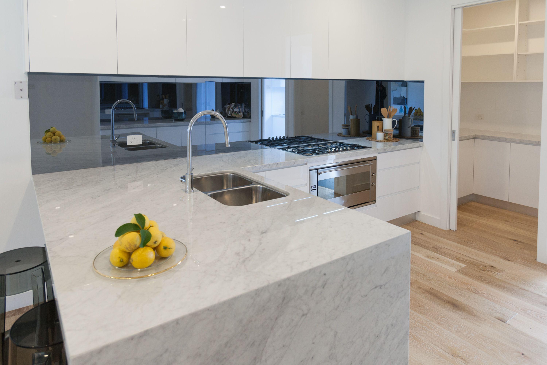 Blue Smoke Mirror Splashback By Pipers Mirror Splashback White Kitchen Tiles Kitchen Mirror