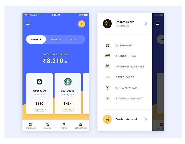 Spending app exploration by @padamboora ---------------------------------------------------WHO SHOULD WE FEATURE? Tag them below  --------------------------------------------------- #uitrends #uidaily #uxdaily #uiux #finance #digital #trends #webdesign #layout #composition #students #design #designers #instadesign #instaweb #awwwards #html #css #uxd #type #typography #productdesign #typeinspire #web #colorcolding #colorpalette #pixel #spending #money #tracking