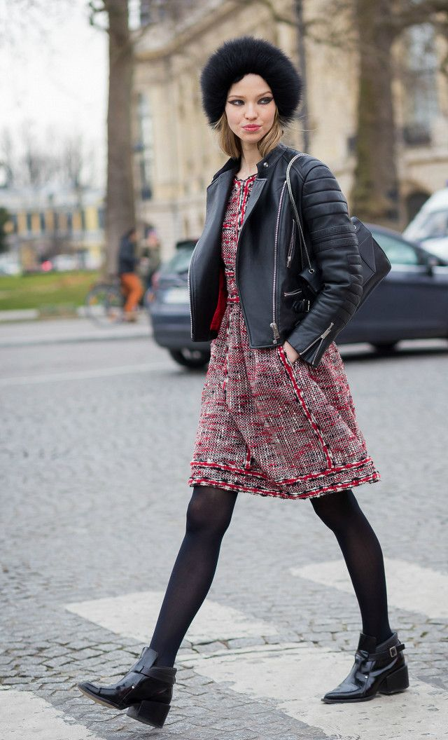 5 Outfit Ideas With Tights (Because It\u0027s Freezing Outside