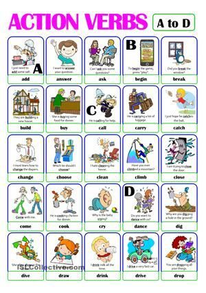 PICTIONARY - ACTION VERB SET (1) - from A to D Más print - diy